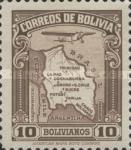 [Airmail - Map of Bolivia with Airplane, type BZ9]