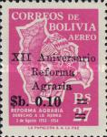 [Airmail Stamps - The 12th Anniversary of the Agrarian Reform, Surcharged