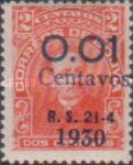 """[Surcharged & Overprinted """"R. S. 21-4 1930"""", type R5]"""