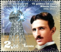 [The 75th Anniversary of the Death of Nikola Tesla, 1856-1943, Typ ZN]