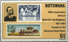 [The 150th Anniversary of the Birth of Heinrich von Stephan (Founder of Universal Postal Union), type JB]