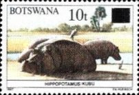 [Animals of Botswana Stamps of 1987 Surcharged, type SM]