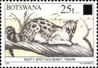 [Animals of Botswana Stamps of 1987 Surcharged, Typ SN]