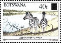 [Animals of Botswana Stamps of 1987 Surcharged, type SO]