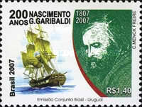 [Joint Issue with Uruguay - The 200th Anniversary of the Birth of Guiseppe Garibaldi, type EAZ]