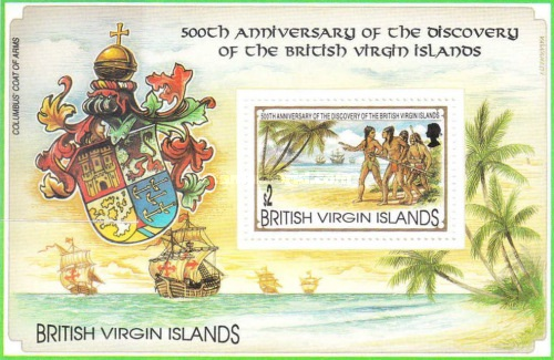 [The 500th Anniversary of the Discovery of the British Virgin Islands by Christopher Columbus, type ]