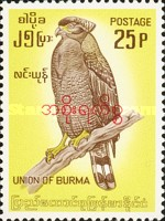 [Burma Postage Stamp Overprinted in Burmese - Birds, type R1]