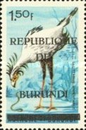 """[Birds Stamps of 1965 Overprinted """"REPUBLIQUE DU BURUNDI"""" and Bar, type CY4]"""