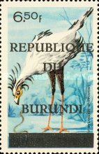 """[Birds Stamps of 1965 Overprinted """"REPUBLIQUE DU BURUNDI"""" and Bar, type CY5]"""
