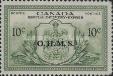 """[Coat of Arms - Special Delivery Stamp of 1946 Overprinted """"O.H.M.S."""", type D]"""