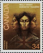 [The 250th Anniversary of the Birth of Molly Brant (Iroquois Leader); The 200th Anniversary of the Birth of Philippe Aubert de Gaspe (Author), Typ AHT]