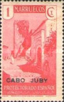 """[Spanish Morroco Postage Stamps Overprinted """"CABO JUBY"""" in Black, Red or Blue, type M]"""