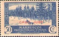 """[Spanish Morroco Postage Stamps Overprinted """"CABO JUBY"""" in Black, Red or Blue, type M10]"""