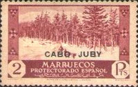 """[Spanish Morroco Postage Stamps Overprinted """"CABO JUBY"""" in Black, Red or Blue, type M13]"""