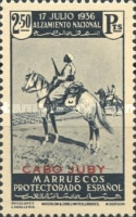 """[Spanish Morroco Postage Stamps Overprinted """"CABO JUBY"""" in Black, Red or Blue, type M14]"""