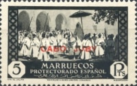 """[Spanish Morroco Postage Stamps Overprinted """"CABO JUBY"""" in Black, Red or Blue, type M16]"""