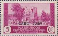 """[Spanish Morroco Postage Stamps Overprinted """"CABO JUBY"""" in Black, Red or Blue, type M2]"""