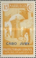 """[Spanish Morroco Postage Stamps Overprinted """"CABO JUBY"""" in Black, Red or Blue, type M4]"""