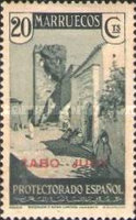 """[Spanish Morroco Postage Stamps Overprinted """"CABO JUBY"""" in Black, Red or Blue, type M5]"""