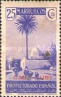 """[Spanish Morroco Postage Stamps Overprinted """"CABO JUBY"""" in Black, Red or Blue, type M6]"""