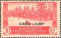 """[Spanish Morroco Postage Stamps Overprinted """"CABO JUBY"""" in Black, Red or Blue, type M8]"""