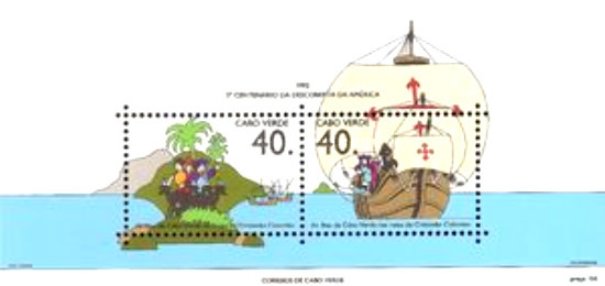 [The 500th Anniversary of Discovery of America by Columbus -  Columbus's Landings in Cape Verde Islands, Typ ]