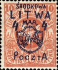 [Lithuanian Postage Stamps Surcharged, type B1]