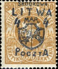 [Lithuanian Postage Stamps Surcharged, type B4]