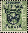 [Lithuanian Postage Stamps Surcharged, type B5]