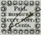 """[Inscription: """"Paid, HONOUR'S CITY POST."""" - Printed on Bluish Paper, Typ C1]"""