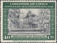 [The 100th Anniversary of the Death of Bernardo O'Higgins, 1778-1842, type EX]