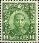 [Dr. Sun Yat-sen - Panel Above National Emblem Filled with Lines. 2nd Chung Hwa Print, Typ BI9]