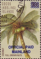 """[Coconut Palm - Surcharged """"OFFICIAL PAID MAINLAND"""", type A]"""