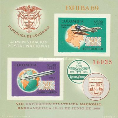 [Airmail - The 50th Anniversary of 1st Colombian Airmail Flight, Typ ]