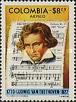 [Airmail - The 150th Anniversary of the Death of Ludwig van Beethoven, 1770-1827, Typ ANP]
