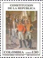 [Airmail - The 170th Anniversary of Creation of First Republic of Colombia and 168th Anniversary of its Constitution, Typ BET]