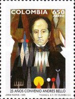 [Airmail - The 25th Anniversary of Andres Bello, Scholar and Writer - Agreement on Intellectual Co-operation, Typ BMN]