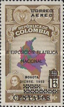 [Airmail - The 2nd National Philatelic Exhibition, Bogota - Surcharged, Typ TR]