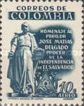 [Airmail - The 125th Anniversary of the Death of Jose Matias Delgado, Champion of Independence, Typ XXF1]