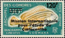 """[Airmail - Issue of 1968 Overprinted """"Mission Internationale pour l'etude du Coelacanthe"""" and Surcharged Value, type EA]"""
