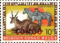 "[Belgian Congo Postage Stamps Overprinted ""CONGO"" - Wild Animals Issue of 1959, type AC3]"
