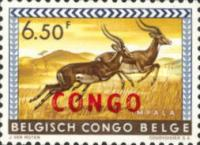 "[Belgian Congo Postage Stamps Overprinted ""CONGO"" - Wild Animals Issue of 1959, type AG]"