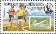 [Airmail - The 50th Anniversary of the Death of Pierre de Coubertin (Founder of Modern Olympic Games), 1863-1937, Typ APN]