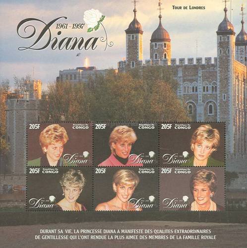 [The 1st Anniversary of the Death of Diana, Princess of Wales, 1961-1997, Typ BHN]