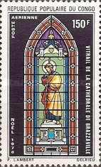 [Airmail - Christmas - Stained Glass Windows, Brazzaville Cathedral, type JJ]