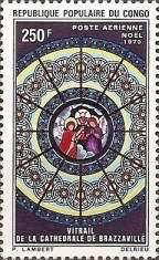 [Airmail - Christmas - Stained Glass Windows, Brazzaville Cathedral, type JK]