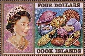 """[Sea Shells & Queen Elizabeth II - Cook Island Postage Stamps Overprinted """"O.H.M.S."""", type AB]"""