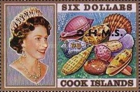 """[Sea Shells & Queen Elizabeth II - Cook Island Postage Stamps Overprinted """"O.H.M.S."""", type AB1]"""
