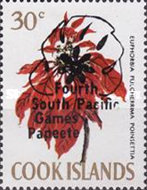 """[Flowers Stamps of 1970 Overprinted """"Fourth South Pacific Games Papeete"""" - Fluorescent Paper, type EL4]"""