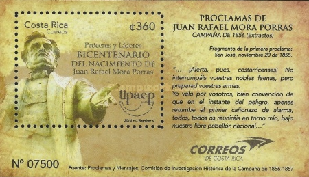 [The 200th Anniversary of the Birth of Juan Rafael Mora Porras, 1814-1860, type ]